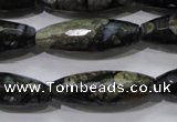 COP480 15.5 inches 10*30mm faceted rice natural grey opal beads