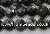 COP481 15.5 inches 12mm faceted coin natural grey opal beads