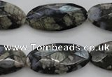 COP494 15.5 inches 15*30mm faceted oval natural grey opal beads