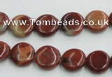 COP521 15.5 inches 12mm flat round red opal gemstone beads wholesale