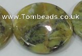 COP560 15.5 inches 40mm flat round natural yellow & green opal beads