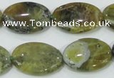 COP564 15.5 inches 18*25mm oval natural yellow & green opal beads
