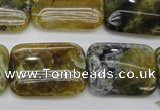 COP570 15.5 inches 18*25mm rectangle natural yellow & green opal beads