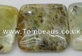 COP584 15.5 inches 40*40mm square natural yellow & green opal beads