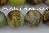 COP594 15.5 inches 20mm round natural yellow & green opal beads