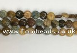 COS243 15.5 inches 10mm flat round ocean stone beads wholesale