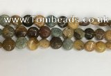 COS245 15.5 inches 14mm flat round ocean stone beads wholesale