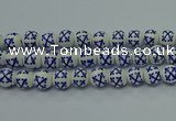 CPB522 15.5 inches 8mm round Painted porcelain beads