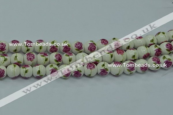 CPB745 15.5 inches 14mm round Painted porcelain beads
