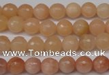 CPE12 15.5 inches 8mm faceted round peach stone beads wholesale