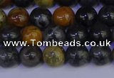 CPJ472 15.5 inches 8mm round black picasso jasper beads wholesale