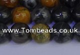 CPJ474 15.5 inches 12mm round black picasso jasper beads wholesale