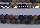 CPJ490 15.5 inches 4mm round matte black picasso jasper beads