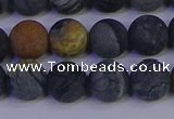 CPJ494 15.5 inches 12mm round matte black picasso jasper beads