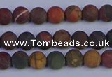 CPJ501 15.5 inches 6mm round matte picasso jasper beads wholesale