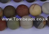 CPJ514 15.5 inches 12mm round matte polychrome jasper beads wholeasle