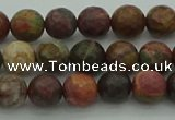 CPJ530 15.5 inches 4mm faceted round picasso jasper beads
