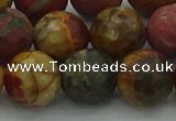 CPJ535 15.5 inches 14mm faceted round picasso jasper beads