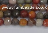 CPJ546 15.5 inches 4mm faceted round polychrome jasper beads