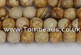 CPJ556 15.5 inches 6mm faceted round picture jasper beads