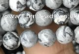 CPJ581 15.5 inches 6mm round grey picture jasper beads wholesale