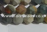 CPJ591 15.5 inches 8mm faceted nuggets matte polychrome jasper beads