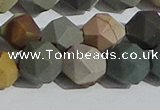 CPJ593 15.5 inches 12mm faceted nuggets matte polychrome jasper beads