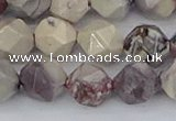 CPJ623 15.5 inches 12mm faceted nuggets purple striped jasper beads