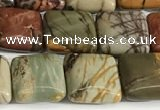 CPJ684 15.5 inches 8*8mm square picasso jasper beads wholesale
