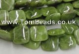 CPO07 15.5 inches 10*10mm square olivine gemstone beads wholesale