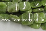 CPO08 15.5 inches 12*12mm square olivine gemstone beads wholesale