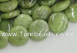CPO17 15.5 inches 16mm flat round olivine gemstone beads wholesale