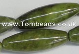 CPO26 15.5 inches 10*30mm rice olivine gemstone beads wholesale