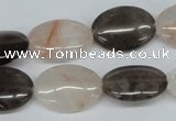 CPQ106 13*18mm oval natural pink crystal & smoky quartz beads