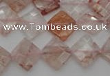 CPQ225 15.5 inches 12*12mm faceted diamond natural pink quartz beads