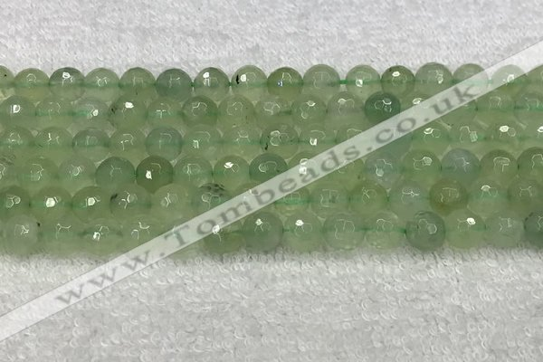 CPR416 15.5 inches 8mm faceted round natural prehnite beads