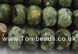 CPS124 15.5 inches 12*16mm faceted rondelle green peacock stone beads