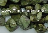 CPS73 15.5 inches 12*12mm faceted rhombic green peacock stone beads