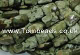 CPS78 15.5 inches 10*14mm faceted rectangle green peacock stone beads