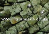 CPS79 15.5 inches 13*18mm faceted rectangle green peacock stone beads
