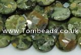 CPS85 15.5 inches 14mm faceted flat round green peacock stone beads