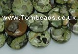 CPS86 15.5 inches 16mm faceted flat round green peacock stone beads