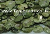 CPS89 15.5 inches 10*14mm faceted oval green peacock stone beads