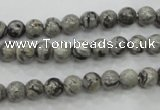 CPT102 15.5 inches 6mm round grey picture jasper beads