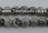 CPT187 15.5 inches 6mm faceted round grey picture jasper beads