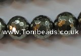 CPY108 15.5 inches 10mm faceted round pyrite gemstone beads wholesale