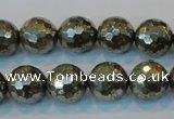CPY110 15.5 inches 14mm faceted round pyrite gemstone beads wholesale