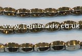 CPY141 15.5 inches 6*10mm rice pyrite gemstone beads wholesale