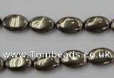 CPY231 15.5 inches 8*12mm oval pyrite gemstone beads wholesale