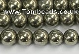 CPY260 15.5 inches 4mm round pyrite gemstone beads wholesale